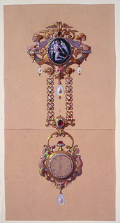 Drawing, Design for a Chatelaine with Watch