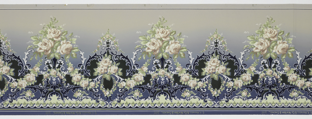 A repeating design of alternating small and large bouquets of pink and white roses hanging from a white and midnight blue trellis design upon an increasingly lighter blue background.
