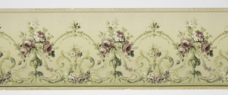 A repeating design of roses containing oversized roses connected by a whimsical arch formed of leaves centering a tiny complementary bouquet, below which another bouquet is situated between two scrolling acanthus leaves, all upon a cream ground. Printed in cream, shades of green, yellow, white, pink and purple.