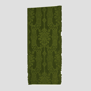 Flocked symmetrical stylized floral bouquet enclosed in frame-like strapwork with some cross-hatch pattern. Printed in light and dark chartreuse.