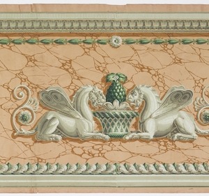 Neo-classical style; caryatids and affronted mythical beasts, printed in grisaille, with green accents. Printed on faux terra cotta-colored stone ground. Late Empire or Restauration style design.