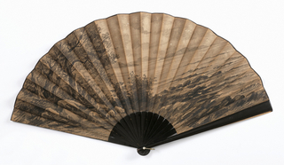 Pleated fan with linen and sateen leaf with paper filler. Obverse: charcoal drawing of landscape; reverse: blank. Black painted wood sticks.