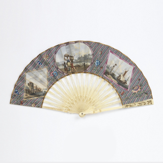 Pleated fan with painted vellum leaf. On the obverse are three scenes set in two diamonds on either side of an oval center medallion, each framed with a painted ribbon, on a striped gray ground with flowers. On the left, buildings bordering the water. In the center, a man, woman and boy walking beside a river carrying bundles. On the right, a boat in a harbor. On the reverse, two birds on a branch. Ivory sticks carved with Chinoiserie flowers.