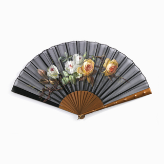 Pleated fan with painted black gauze leaf. Obverse: painted sprig of white and Tea roses. Reverse: plain.  Plain wood sticks gilded a rust color. Guards: with same finish as sticks; decorated with bumps imitating bamboo.