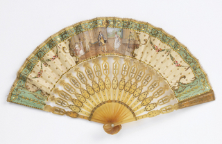 Pleated fan, leaf of cream-colored silk painted on the obverse with a scene in a medallion of an interior with a man and girl dancing, with three women at left watching, all in Empire costume; a tripod at right and open door at back showing a landscape. Border at top and sides of leaf, green, with gold and brown rinceaux, central mascaron ornament, and festoons of roses and gilt 8-point sequins. Reverse decorated with gold eagle on blue-green ground in gold frame, border on leaf painted with gold scroll design. Top of leaf sewn with gold loop edging. Guards and sticks of horn with scalloped outline, pierced, obverse engraved, gilded and decorated with steel piques.