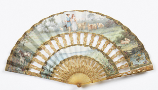 "Cabriolet fan. Two concentric leaves of gouache painted parchment backed with painted silk. Obverse: the upper band, a scene of a shepherd and shepherdess holding hands; the lower band, a landscape. Reverse: rocaille scrolls in gold with rose garlands. Incised and painted horn sticks. Rivet set with a glass stone. Box covered with maroon leather with gilt tooling, marked, ""Tiffany & Co. Made in France""."