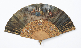 Pleated fan. Silk leaf painted with gouache. Obverse: figures in landscape, gilt foliage at sides. Reverse: a dark, deserted landscape. Pierced and painted sandalwood sticks with iridescent spangles in shell shape. Gilt hammered metal bail.