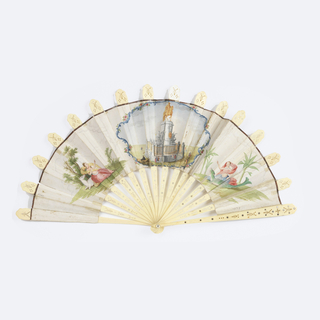"Pleated fan with double leaf. Both leaves are hand-colored paper with an equestrian statue of Portugual's John I in the center, having at each side one of the ""Four Parts of the Globe"" allegorically represented as a woman with an attendant beast and appropriate scenic detail. Pierced ivory sticks inlaid steel piqués. Some careful repairs have been made to the edges of the paper leaf. Mother-of-pearl washer at rivet."