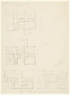 Four floor plans with manuscript notations for the Villa Stein-de Monzie, Garches, France.