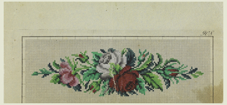 Design for Berlin wool work—probably for a pin cushion. A red and white rose with green leaves and a bud at each end. All on squared paper.