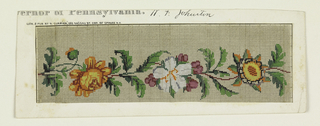 Design on graph paper for Berlin wool work, a band of flowers and leaves in color.