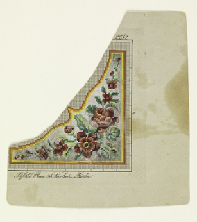 A pattern for a corner design, composed of flowers and leaves within a frame.