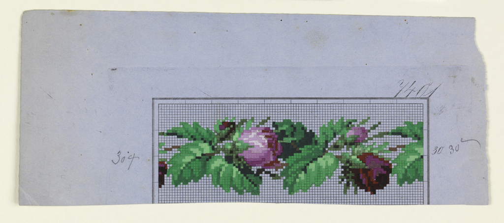 A band of roses and leaves on graph paper.