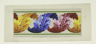 Design for wool-work on squared paper.  Acanthus leaf scroll in yellow, blue, rose.