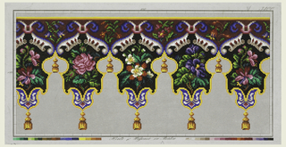 Design for a lambrequin with tassels in wool work, number 3400, all colors, with floral motifs.