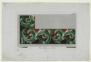 A design on squared paper, of a border of stylized acanthus leaves in shades of green against a background of three bands of red, shaded from vermilion to maroon.