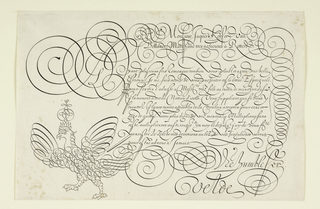 Ornate example of script in the form of a letter. Flourishes include swirls and a crowned eagle at lower left.