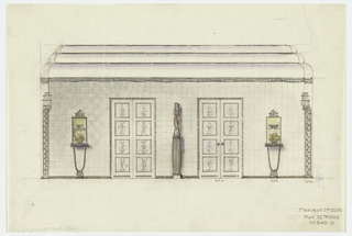 Drawing, Rendering of Door Wall Elevation of Dining Room, Agnes Miles Carpenter Apartment, 950 Fifth Ave., New York
