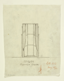 Drawing, Rendering of Pantry Door Elevation of Dining Room for Agnes Miles Carpenter Apartment, 950 Fifth Ave., New York