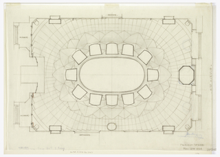 Floor plan, showing parquetry and shapes and placement of furniture.