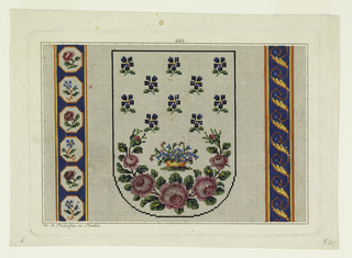 Central design shows a small basket of blue flowers with green leaves surrounded below by a wreath-like formation of pink blossoms in various sizes. Ten blue flowers are staggered above basket. Left side has vertical blue band decorated with alternating blue flowers and pink blossoms in hexagons; right side has vertical blue band decorated with yellow and orange connected wave-like pattern.