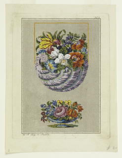 At center, a violet shell-like cornucopia filled with flowers in orange, white, blue, red, purple, and yellow; below, a blue short footed vase with flowers in pink, orange, blue, and yellow.