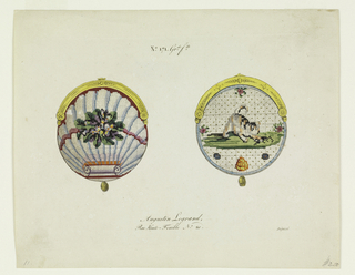 Left, rounded shell form to which a bouquet of blue and purple flowers is attached with pink ribbon; above, a gold frame and below, circular gold tassel. Right, image of a dog wagging its tail trapping a small dark animal on green grass with floral details; above, gold frame and below, circular gold tassel.