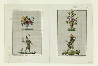 Left, above, violet footed vase with bouquet of pink and orange flowers; below, one of the zanni, or clowns or Harlequin, wearing a costume of red, yellow, blue and green; he holds a puppet. Right, above, tan vase with pink blossoms; below, one of the zanni, wearing black mask and costume in green, red, and yellow; he holds a club, wears a large hat, and stands in a comical pose.