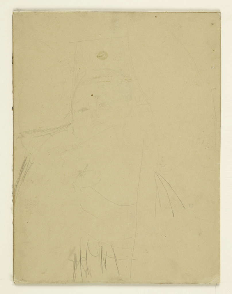 Very faint drawing of a child's face. The infant's eyes are open and the face is turned slightly to the left.  A blanket or wrap is indicated by  short strokes of graphite.