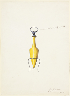Yellow amphora-shaped perfume bottle, topped with blue steel stag head with antlers that form a circle and bejeweled face. Bottle rests on a thin and streamlined three-legged mount in blue steel.