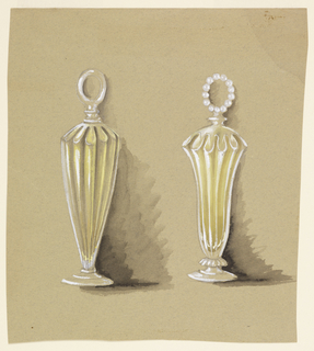 Two crystal fluted perfume bottles. Left, convex silhouette with stepped foot and simple circular top; right, concave silhouette with stepped foot and petalled detail and crystal beads shaped into circular top.