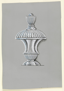 Tiered crystal perfume bottle on violet paper. From the bottom, smooth inversed cup-shaped foot leading to gadrooned cup, above which is a concave silhouetted body leading to a large inversed gadrooned cup, then a small smooth concave silhouette topped with a taller and narrower gadrooned cup-shaped finial holding a spherical form inside.
