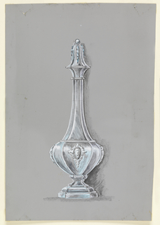 Bottle with stepped and rounded foot, convex body with cartouche framed by garlands, elongated neck with curved finial topped with bead and decorated with garlands.
