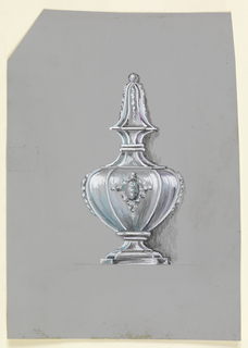 Bottle with stepped and rounded foot, convex body with cartouche framed by garlands, short neck with curved finial topped with bead and decorated with garlands.