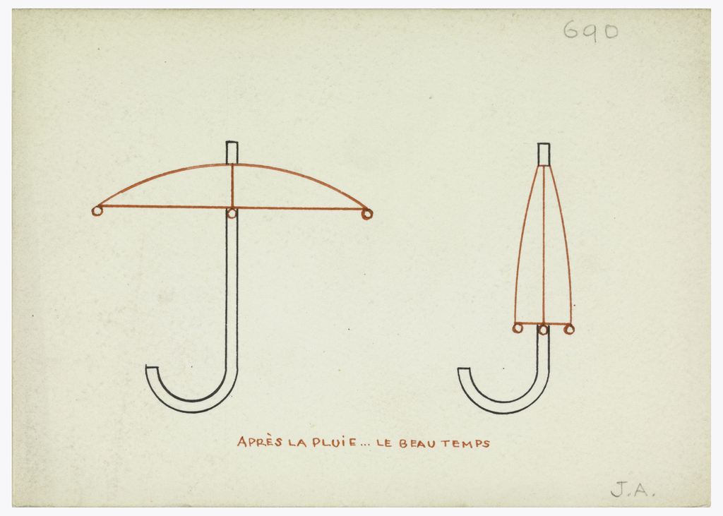 """Monogram comprised of a """"J"""" in the form of an open umbrella with curved handle indicated the bottom of the """"J"""", next to an """"A"""" in the form of a closed umbrella, the tapering shade indicating the diagonal elements of the """"A."""""""