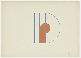 """Monogram comprised of a """"D"""" the curved element in outline, the vertical element formed by three blue bands superimposed upon a smaller solid red """"P"""", the rounded element forming the center of the """"D""""."""