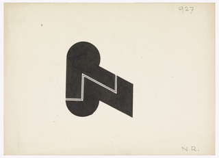 """Monogram composed of a solid black """"R"""" above a solid black """"N"""" separated by a thin black zigzag line."""