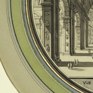 Circular drawing showing the interior of a great basilica, identified as St. Peter's in Rome by an inscription below the image. The view looks down the barrel vaulted nave toward the altar in the distance at left. Small figures are placed in the middle distance and foreground.