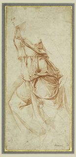 Figure of an angel wearing a chiton tied under her breast and gathered at the hips, leaning left with right leg extended before left leg.
