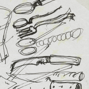 Sheet of sketches including (from left to right across rows): (top row) faceted goblet, continuous-back chair, three spoons and a fork; (second row) ladle viewed in 3/4 perspective, two knives and a knife handle; (third row) handled bowl with conical cover, circular commode, square frying pan with cover; (bottom row) watch face, square covered pot with bale and straight handle, square bowl with separate cover.