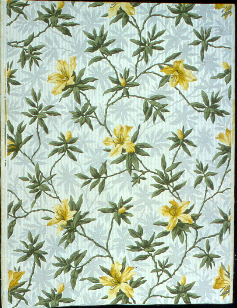 Green branches and leaves with yellow blossoms are shadowed in random arrangement on background of fine gray and white vertical stripes. Drop match.
