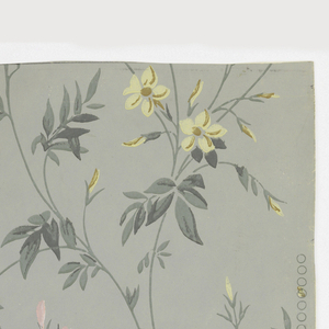 Horizontal rectangle giving a complete width. Vine, with flowers in yellow and pink and leaves in gray-green. Printed on gray-green ground.