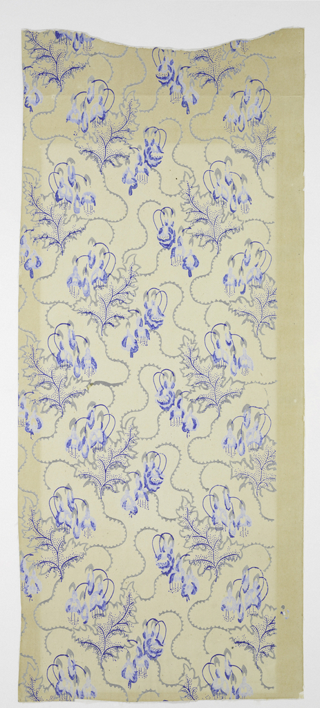 Vertical rectangle, with fuchsias in vertical serpentine arrangement. Printed in gray and blue on white paper.