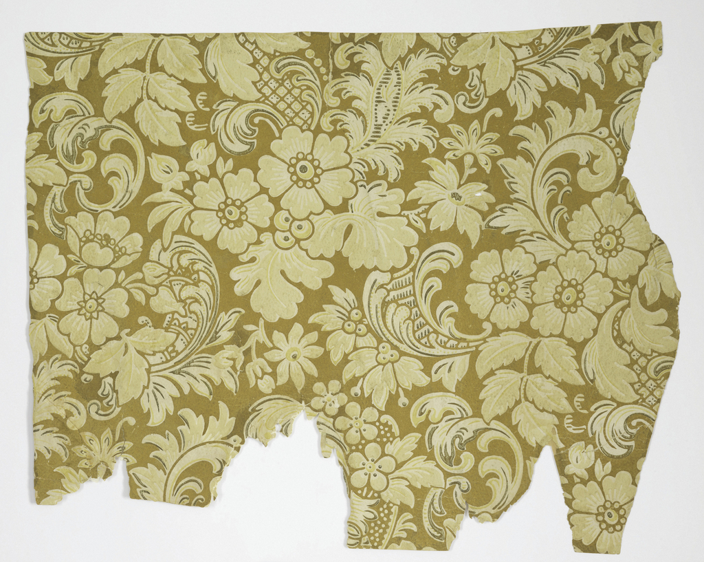 An asymmetrical floral pattern interspersed with acanthus leaf scrolls. The entire paper is embossed with pebble pattern. Printed in deep ivory on off-white in design with touches of bronze. The entire background is gilded.