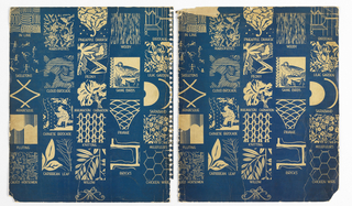 Front and back cover of a sample book that was disbound. A detail of each of the patterns in the book is arranged in off-set columns. Each detail has name of pattern printed underneath. Katzenbach and Warren monogram printed at the base. Color scheme of cream on dark blue ground.