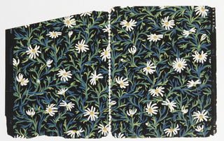 "All-over pattern of daisies with blue and green stems irregularly arranged on black ground; each flowerhead and stem is unique, seemingly marked out in quick brushstrokes; on the trim the pattern is identified as ""Marguerites"""