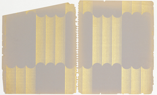 Pattern with motif of three side-by-side gold columns with deep concave ends repeated in checkerboard-style on a pale violet ground, now faded at the edges; each column is formed from a series of gold vertical lines that grow increasingly thinner from left to right.