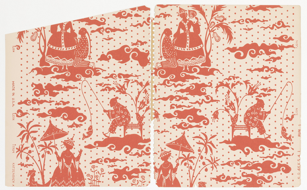 Pattern of fantastical chinoiserie scenes cut out like shadow puppets on a background of polka dots; entire pattern is in a single shade of red on white ground; two scenes, one of an old man fishing while seated on a table with vase of flowers and the other of a young man with a ponytail kneeling and wooing a woman with a full-skirted dress, hat, and parasol.