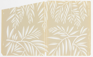 Pattern of stylized willow branches with thin, two-tone white-and-grey leaves and white stems on a beige ground; branches are reflected across vertical axis with slight variations in design of each motif.