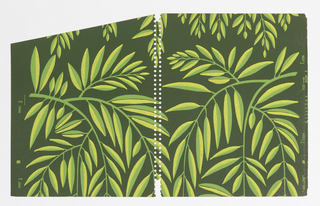 Page from sample book containing forty contemporary designs by leading designers. Grid of leafy green foliage hanging in fashion of weeping willow tree.